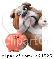 Clipart Of A 3d Bill Bulldog Mascot Holding A Piggy Bank Around A Sign On A White Background Royalty Free Illustration