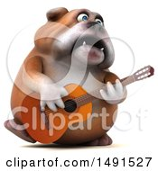 Clipart Of A 3d Bill Bulldog Mascot Holding A Guitar On A White Background Royalty Free Illustration
