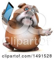 Clipart Of A 3d Bill Bulldog Mascot Holding A Cell Phone On A White Background Royalty Free Illustration