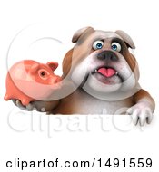 Clipart Of A 3d Bill Bulldog Mascot Holding A Piggy Bank On A White Background Royalty Free Illustration