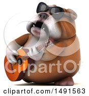 Clipart Of A 3d Bill Bulldog Mascot Playing A Guitar On A White Background Royalty Free Illustration
