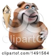 Clipart Of A 3d Bill Bulldog Mascot Holding An Ice Cream Cone On A White Background Royalty Free Illustration