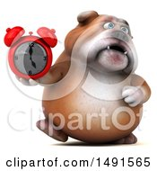 Clipart Of A 3d Bill Bulldog Mascot Holding An Alarm Clock On A White Background Royalty Free Illustration