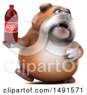 Clipart Of A 3d Bill Bulldog Mascot Holding A Soda Bottle On A White Background Royalty Free Illustration