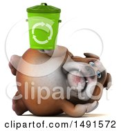 Clipart Of A 3d Bill Bulldog Mascot Holding A Recycle Bin On A White Background Royalty Free Illustration