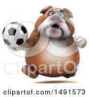 Clipart Of A 3d Bill Bulldog Mascot Holding A Soccer Ball On A White Background Royalty Free Illustration