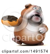 Clipart Of A 3d Bill Bulldog Mascot Holding A Donut On A White Background Royalty Free Illustration
