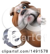 Clipart Of A 3d Bill Bulldog Holding A Euro On A White Background Royalty Free Illustration
