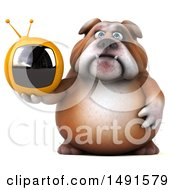 Clipart Of A 3d Bill Bulldog Holding A Tv On A White Background Royalty Free Illustration