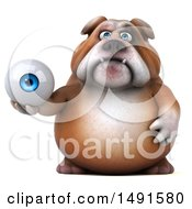 Clipart Of A 3d Bill Bulldog Holding An Eyeball On A White Background Royalty Free Illustration