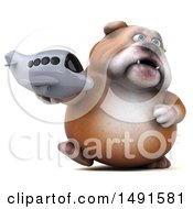 Clipart Of A 3d Bill Bulldog Holding A Plane On A White Background Royalty Free Illustration