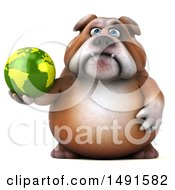 Clipart Of A 3d Bill Bulldog Holding A Globe On A White Background Royalty Free Illustration
