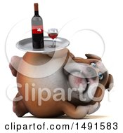 Clipart Of A 3d Bill Bulldog Holding A Wine Tray On A White Background Royalty Free Illustration