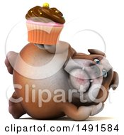 Clipart Of A 3d Bill Bulldog Holding A Cupcake On A White Background Royalty Free Illustration