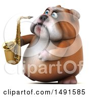 Clipart Of A 3d Bill Bulldog Holding A Saxophone On A White Background Royalty Free Illustration