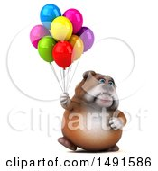 Clipart Of A 3d Bill Bulldog Holding Balloons On A White Background Royalty Free Illustration