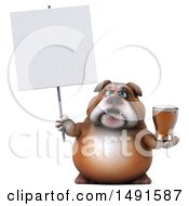 Clipart Of A 3d Bulldog Holding A Beer On A White Background Royalty Free Illustration