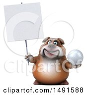 Clipart Of A 3d Bulldog Holding A Golf Ball On A White Background Royalty Free Illustration