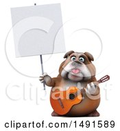 Clipart Of A 3d Bulldog Holding A Guitar On A White Background Royalty Free Illustration