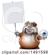 Clipart Of A 3d Bill Bulldog Mascot Holding An Eyeball On A White Background Royalty Free Illustration