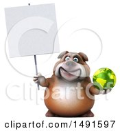 Clipart Of A 3d Bill Bulldog Mascot Holding A Globe On A White Background Royalty Free Illustration