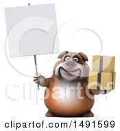 Clipart Of A 3d Bill Bulldog Mascot Holding Boxes On A White Background Royalty Free Illustration