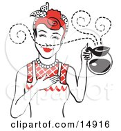 Red Haired Waitress Smelling The Wonderful Aroma Of Fresh Hot Coffee While Holding A Coffee Pot Clipart Illustration by Andy Nortnik