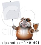 Clipart Of A 3d Bill Bulldog Holding A Beer On A White Background Royalty Free Illustration