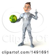 3d Caucasian Male Armored Knight Holding A Globe On A White Background