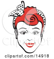 Poster, Art Print Of Friendly Red Haired Woman Smiling And Wearing A Scarf In Her Hair