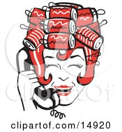 Red Haired Housewife With Her Hair Up In Curlers Laughing While Talking On A Landline Telephone Clipart Illustration
