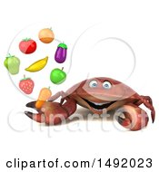 Clipart Of A 3d Crab Holding Produce On A White Background Royalty Free Illustration
