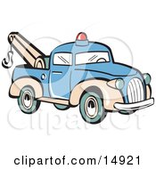 Blue Toy Tow Truck With A Hook Retro Clipart Illustration