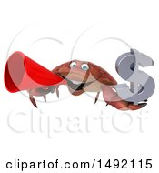 Poster, Art Print Of 3d Crab Holding A Dollar Symbol On A White Background
