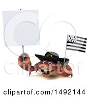 Poster, Art Print Of 3d Happy Breton Crab On A White Background