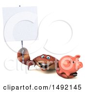 Poster, Art Print Of 3d Crab Holding A Piggy Bank On A White Background