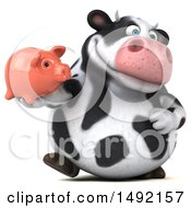 Poster, Art Print Of 3d Holstein Cow Character On A White Background