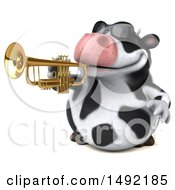 Clipart Of A 3d Holstein Cow Character Trumpet Player On A White Background Royalty Free Illustration