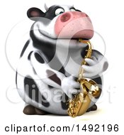 Clipart Of A 3d Holstein Cow Character On A White Background Royalty Free Illustration