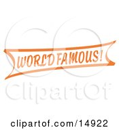 Vintage Orange World Famous Banner Sign Clipart Illustration by Andy Nortnik
