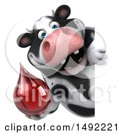 Clipart Of A 3d Holstein Cow Character Holding A Blood Drop On A White Background Royalty Free Illustration