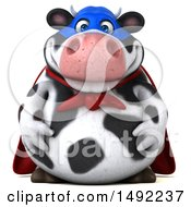 Clipart Of A 3d Super Holstein Cow Character On A White Background Royalty Free Illustration by Julos