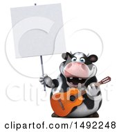 Clipart Of A 3d Holstein Cow Character Guitar Player On A White Background Royalty Free Illustration