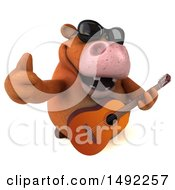 Clipart Of A 3d Brown Cow Character Guitarist On A White Background Royalty Free Illustration