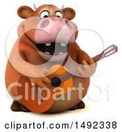 Clipart Of A 3d Brown Cow Character Playing A Guitar On A White Background Royalty Free Illustration