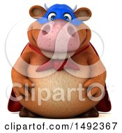 Clipart Of A 3d Brown Super Cow Character On A White Background Royalty Free Illustration by Julos