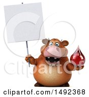 Clipart Of A 3d Brown Cow Character Holding A On A White Background Royalty Free Illustration