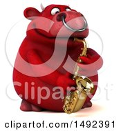 Clipart Of A 3d Red Bull Saxophone Player On A White Background Royalty Free Illustration