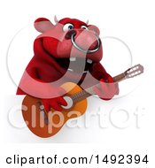 Clipart Of A 3d Red Bull Guitar Player On A White Background Royalty Free Illustration