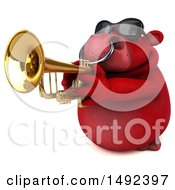Clipart Of A 3d Red Bull Trumpet Player On A White Background Royalty Free Illustration